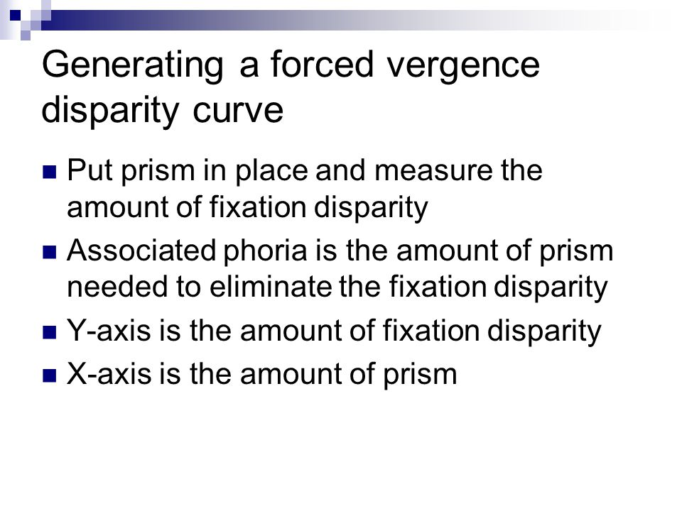 Generating a forced vergence disparity curve