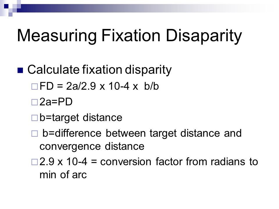 Measuring Fixation Disaparity