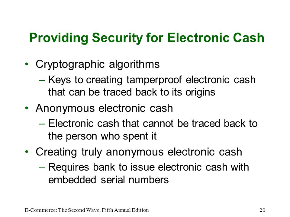 Providing Security for Electronic Cash