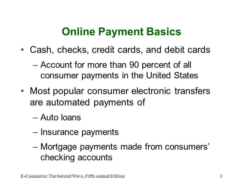 Online Payment Basics Cash, checks, credit cards, and debit cards
