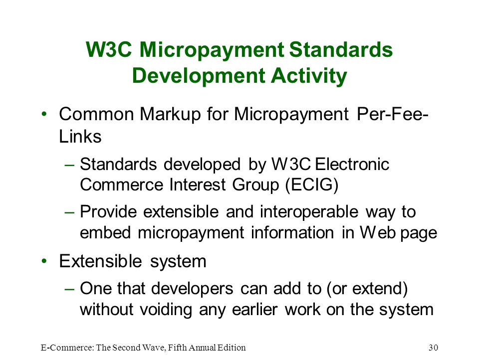 W3C Micropayment Standards Development Activity