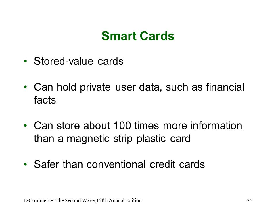 Smart Cards Stored-value cards