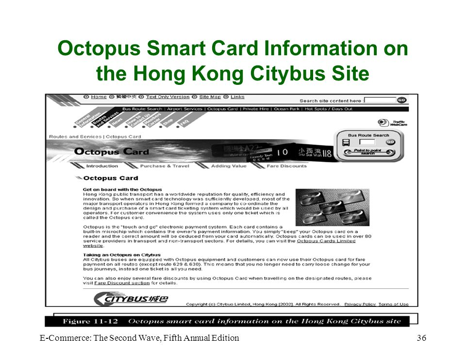 Octopus Smart Card Information on the Hong Kong Citybus Site