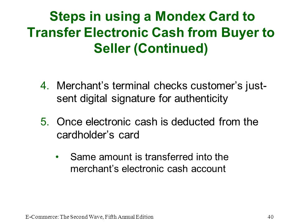Steps in using a Mondex Card to Transfer Electronic Cash from Buyer to Seller (Continued)