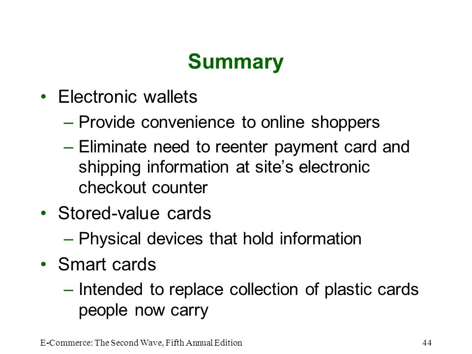 Summary Electronic wallets Stored-value cards Smart cards