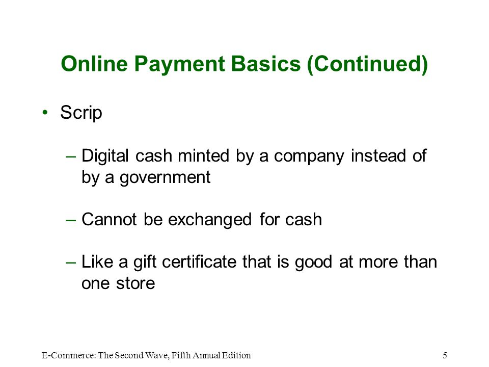 Online Payment Basics (Continued)