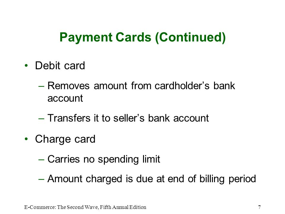 Payment Cards (Continued)