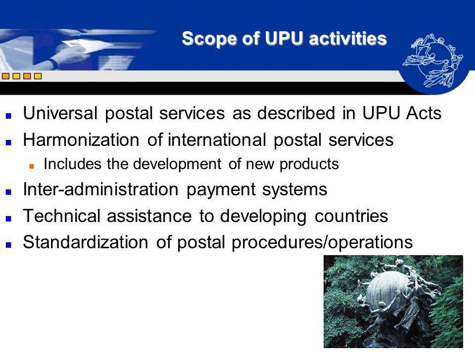 Scope of UPU activities