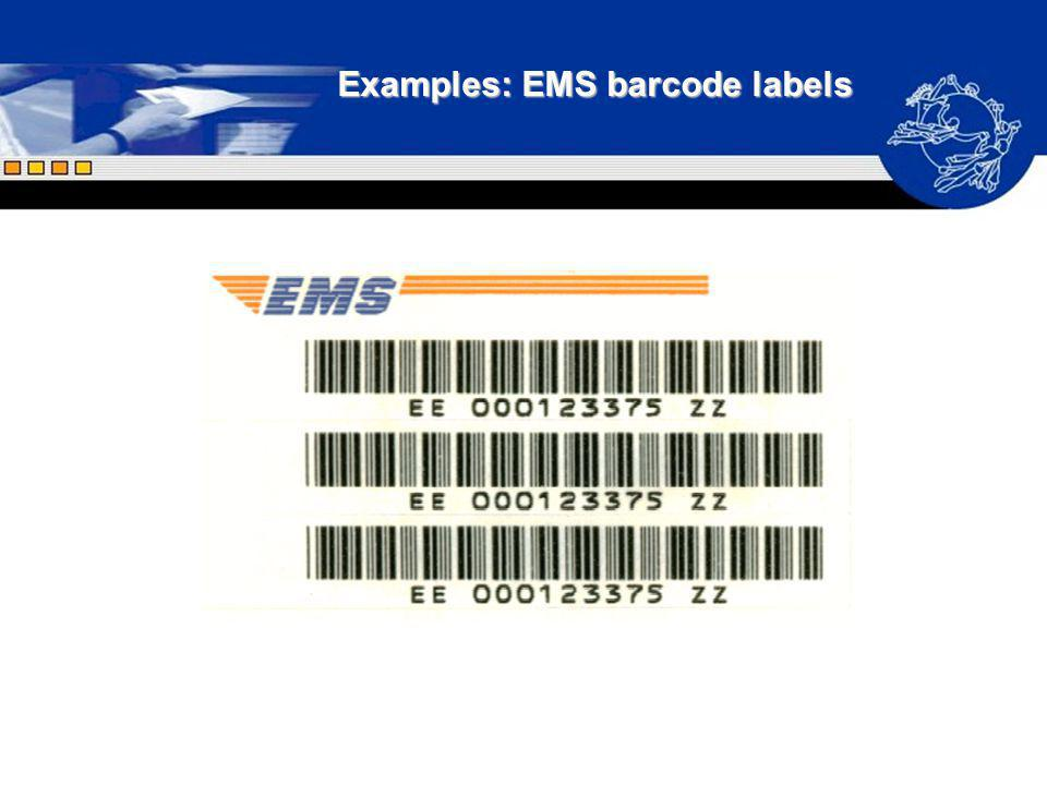 Examples: EMS barcode labels