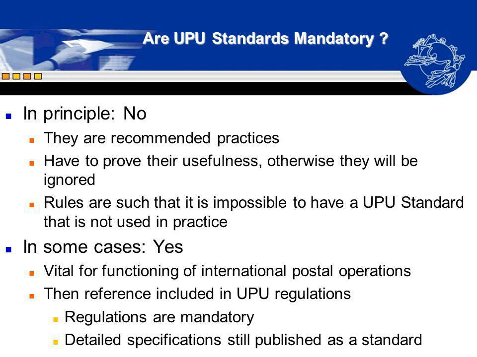Are UPU Standards Mandatory