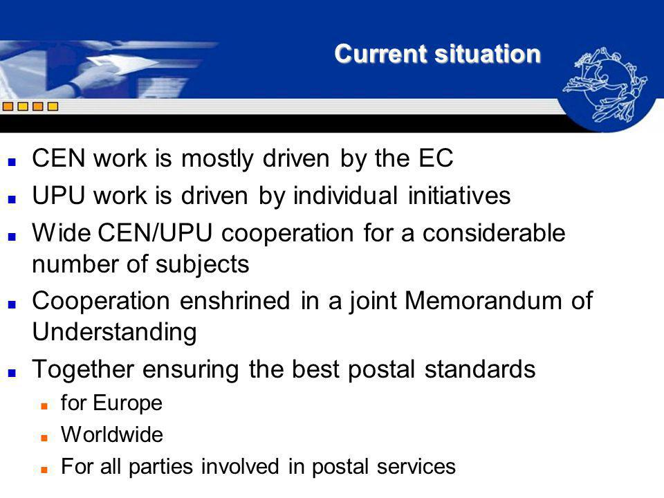 CEN work is mostly driven by the EC