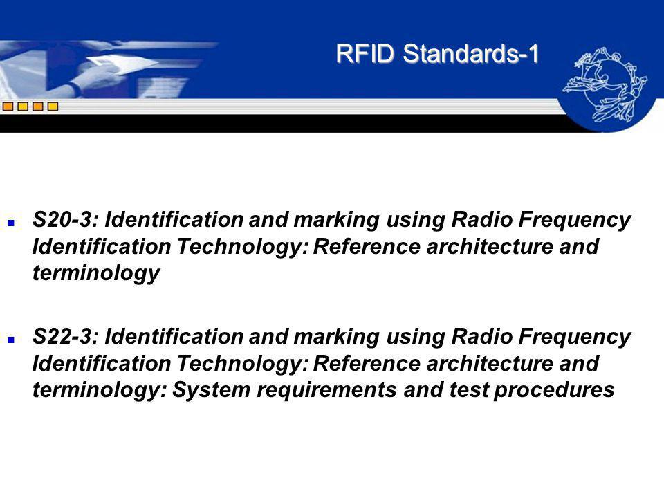 RFID Standards-1 S20-3: Identification and marking using Radio Frequency Identification Technology: Reference architecture and terminology.