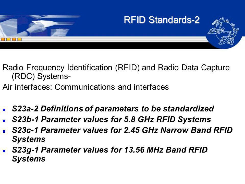 RFID Standards-2 Radio Frequency Identification (RFID) and Radio Data Capture (RDC) Systems- Air interfaces: Communications and interfaces.