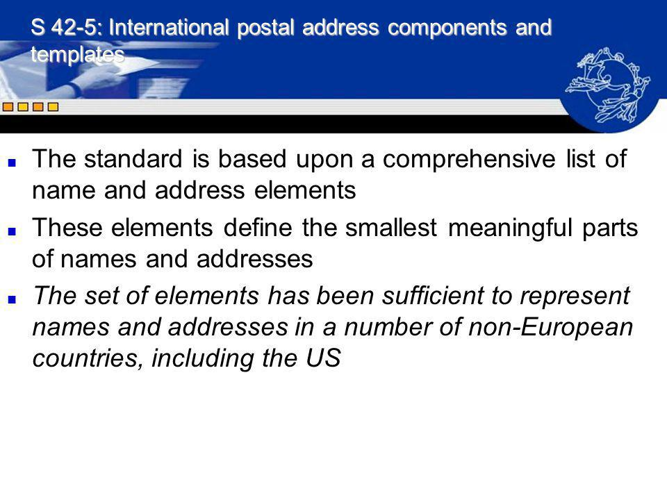 S 42-5: International postal address components and templates