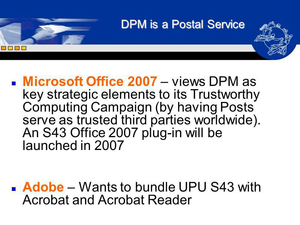 Adobe – Wants to bundle UPU S43 with Acrobat and Acrobat Reader