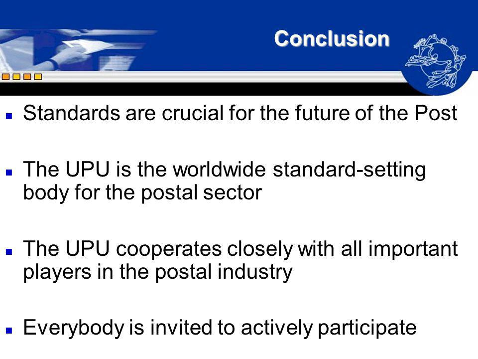 Conclusion Standards are crucial for the future of the Post. The UPU is the worldwide standard-setting body for the postal sector.