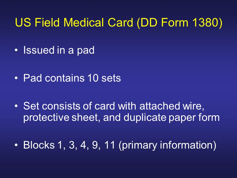 US Field Medical Card (DD Form 1380)