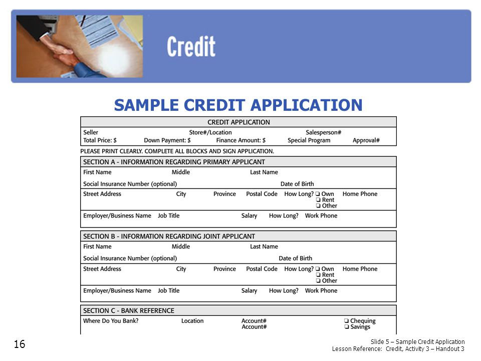 SAMPLE CREDIT APPLICATION