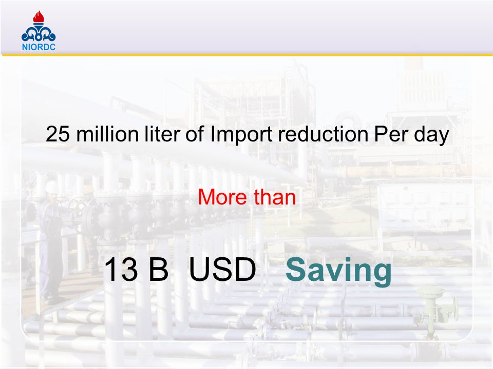 25 million liter of Import reduction Per day