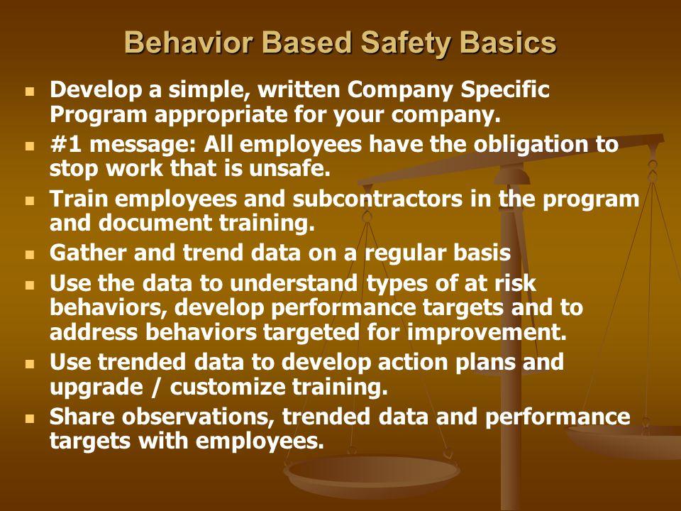 Behavior Based Safety Basics