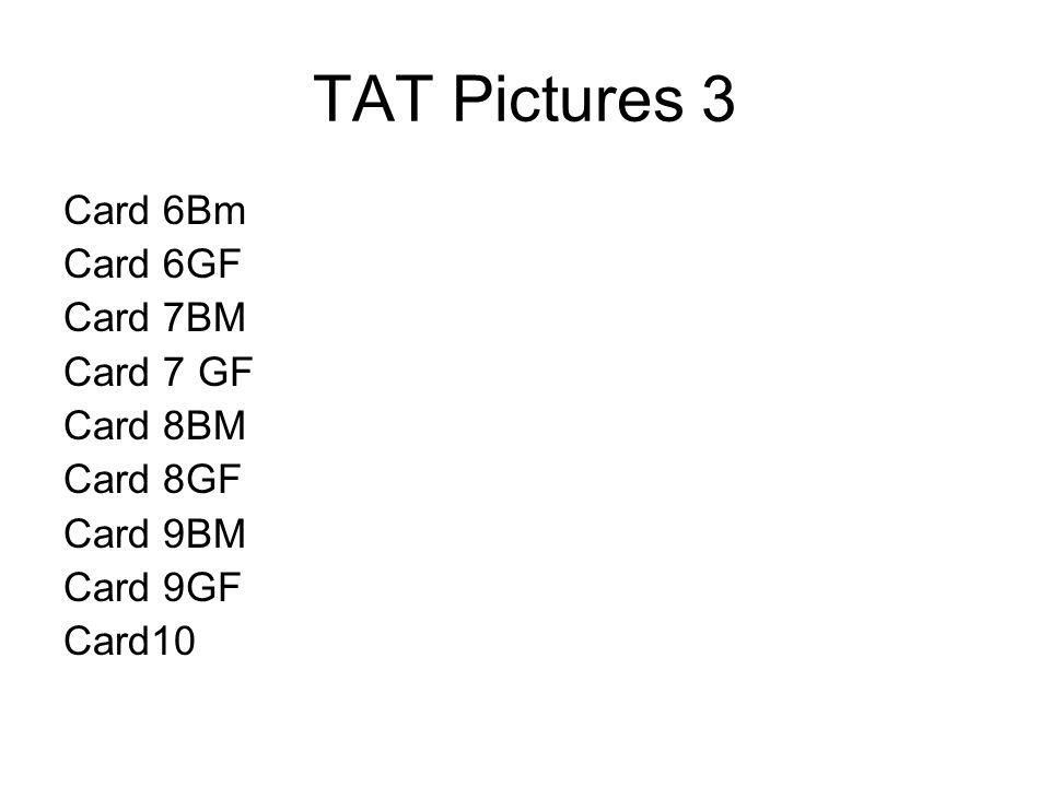 TAT Pictures 3 Card 6Bm Card 6GF Card 7BM Card 7 GF Card 8BM Card 8GF