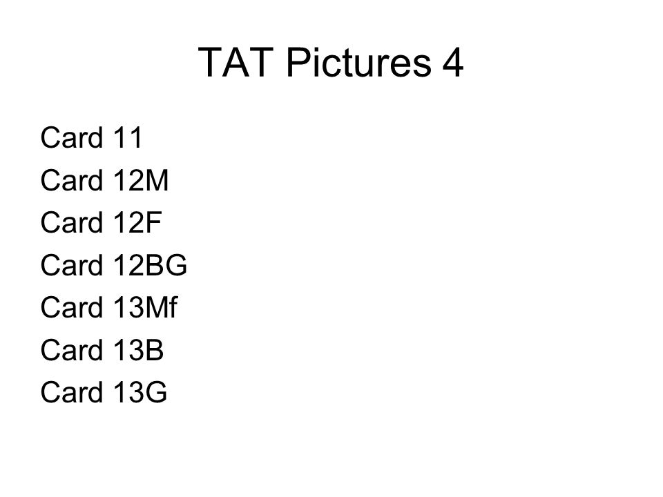 TAT Pictures 4 Card 11 Card 12M Card 12F Card 12BG Card 13Mf Card 13B