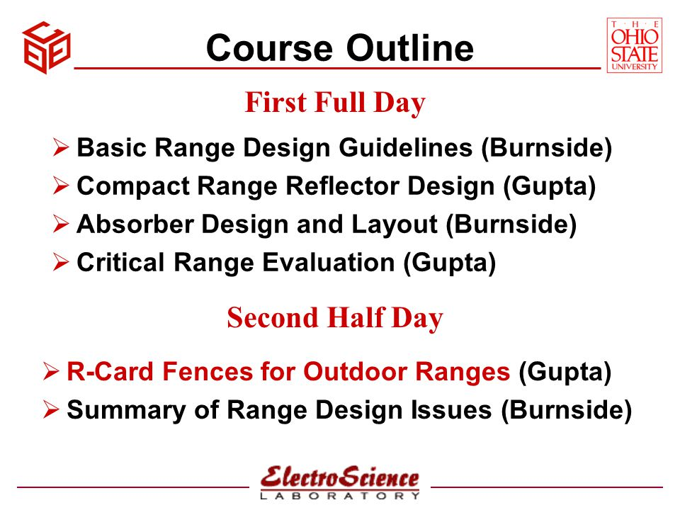 Course Outline First Full Day Second Half Day