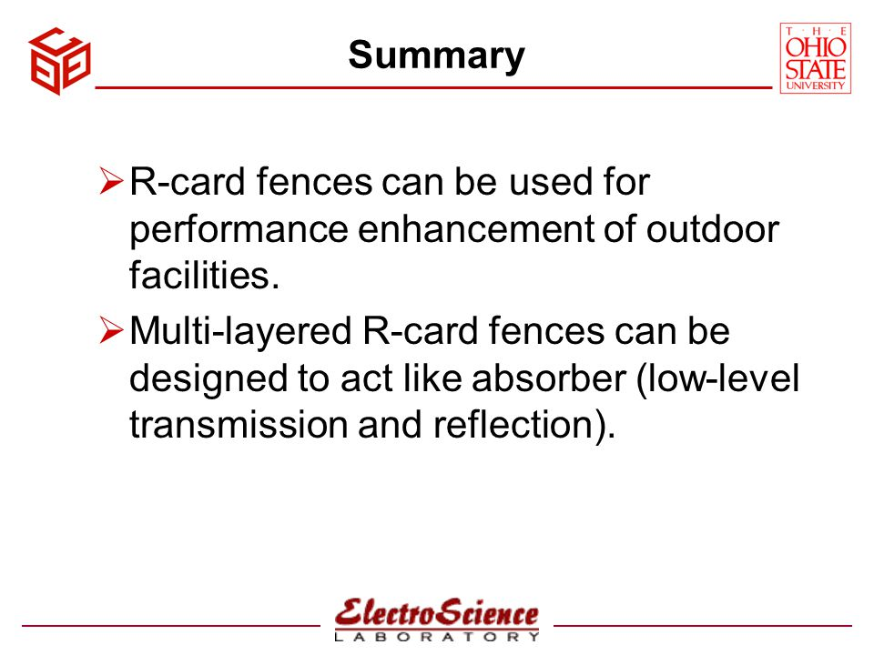 Summary R-card fences can be used for performance enhancement of outdoor facilities.