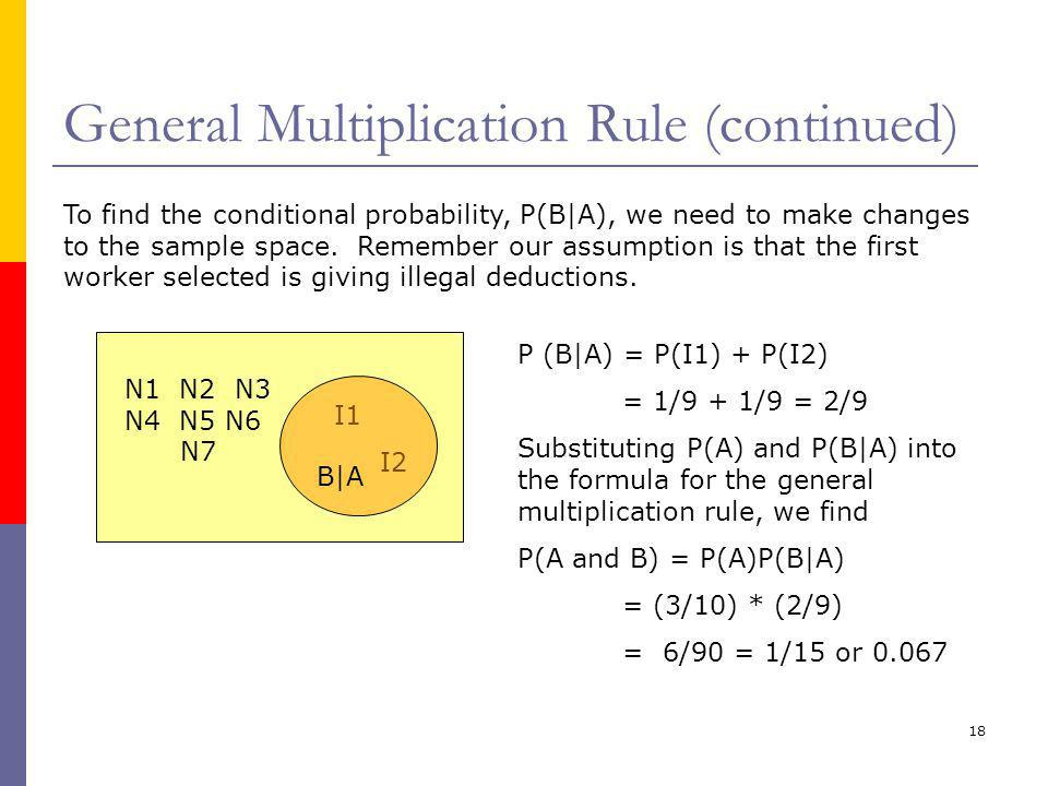 General Multiplication Rule (continued)