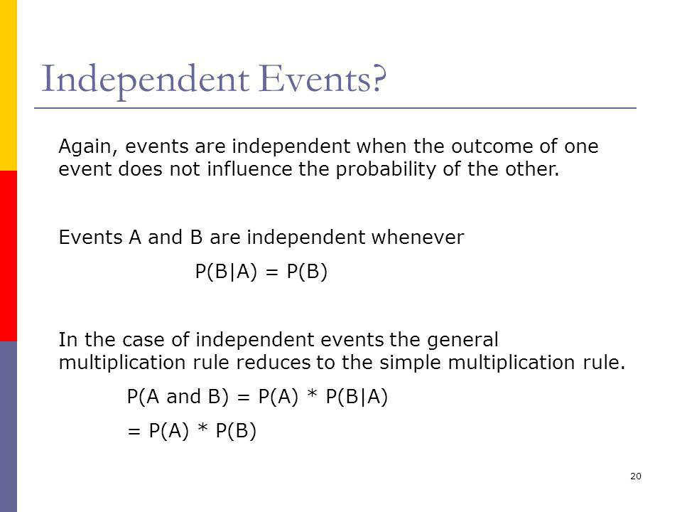 Independent Events Again, events are independent when the outcome of one event does not influence the probability of the other.