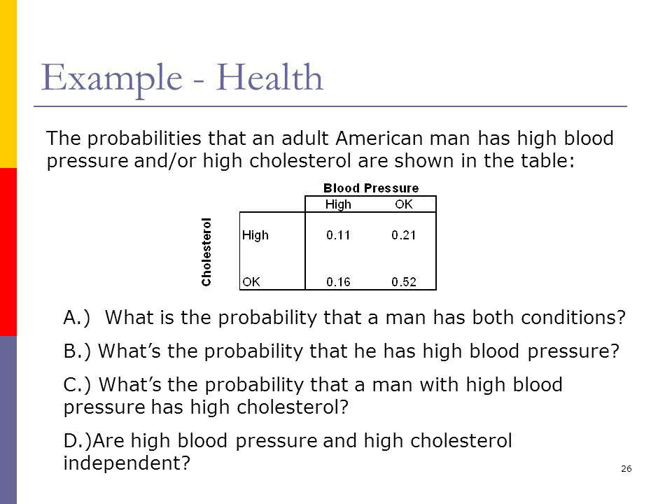Example - Health The probabilities that an adult American man has high blood pressure and/or high cholesterol are shown in the table: