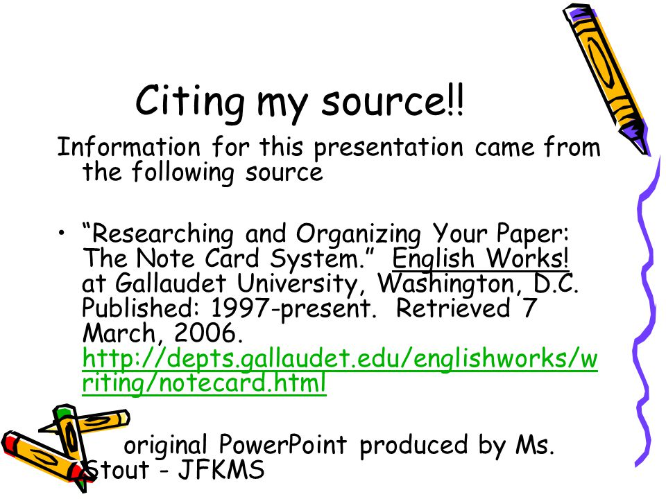 Note cards for research paper powerpoint presentations