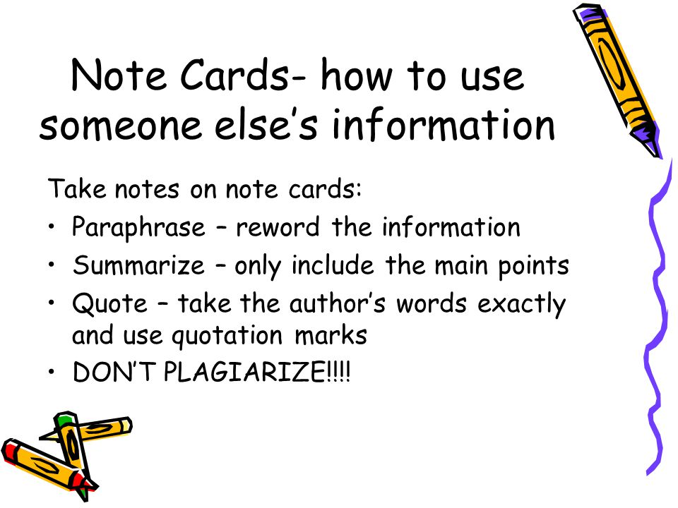 Note Cards- how to use someone else's information