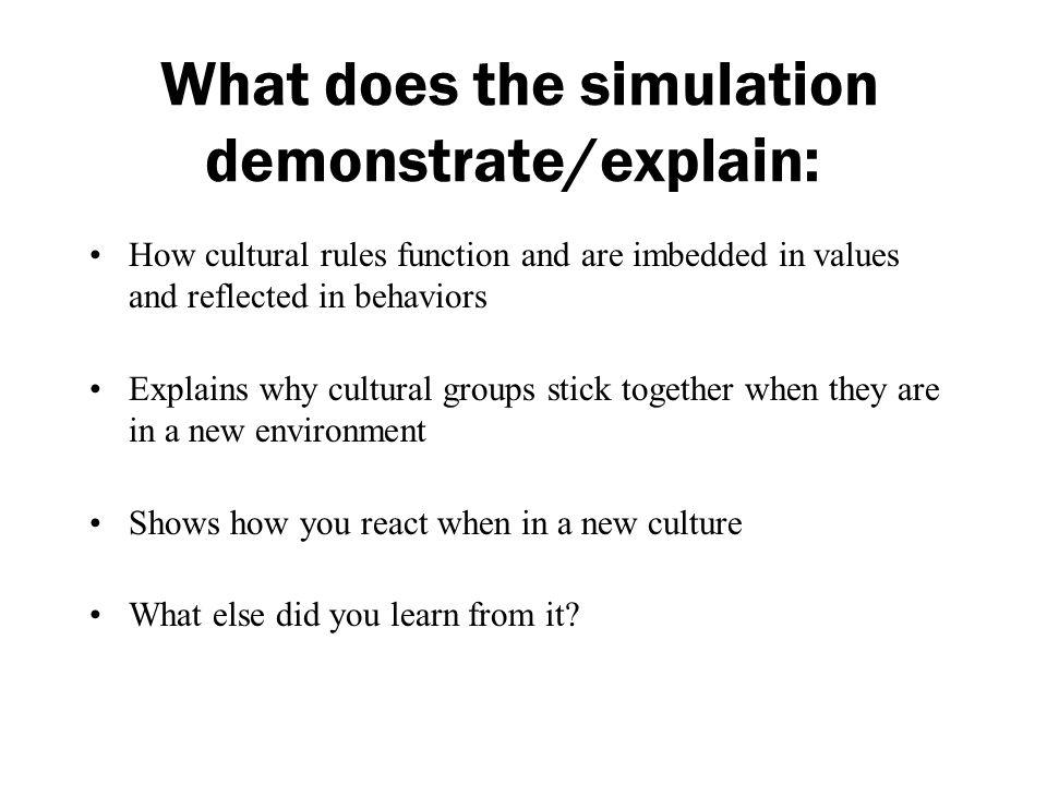What does the simulation demonstrate/explain: