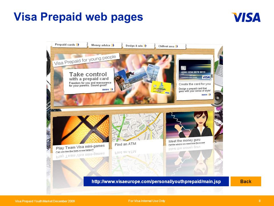 Visa Prepaid web pages http://www.visaeurope.com/personal/youthprepaid/main.jsp Back