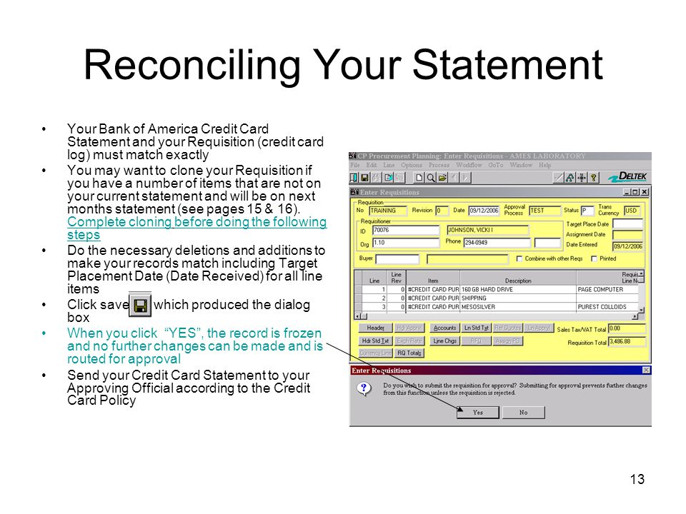 Reconciling Your Statement