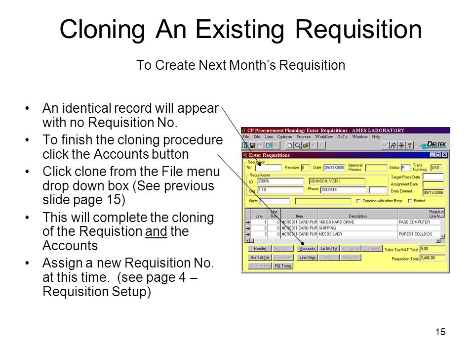 Cloning An Existing Requisition To Create Next Month's Requisition