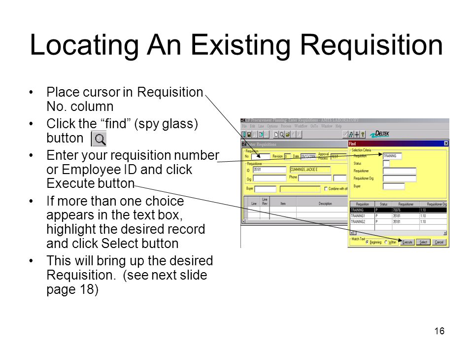 Locating An Existing Requisition