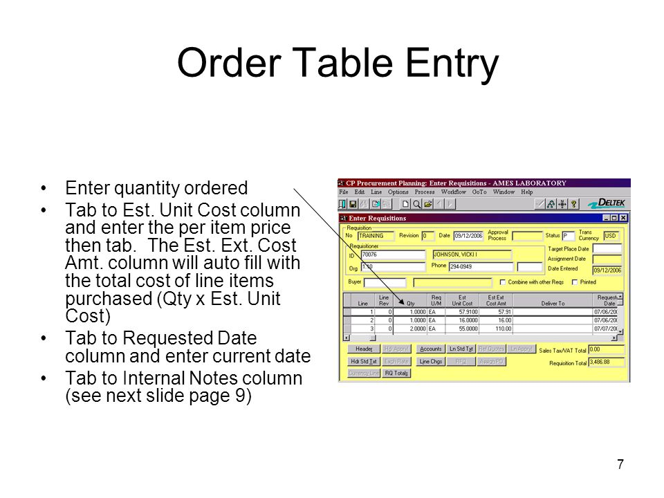 Order Table Entry Enter quantity ordered