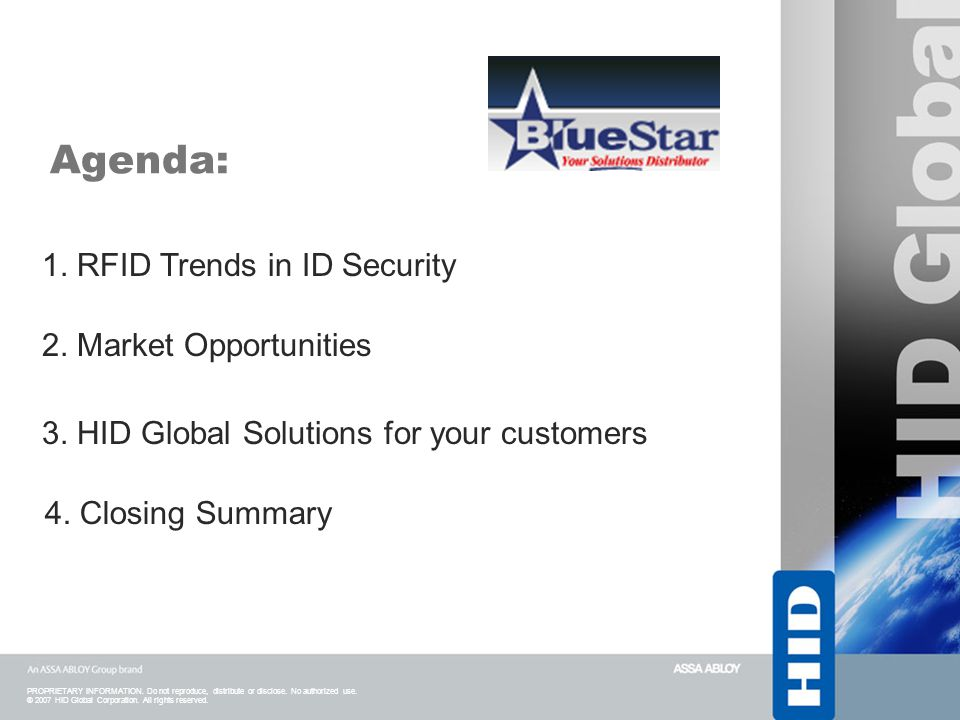 Agenda: 1. RFID Trends in ID Security 2. Market Opportunities