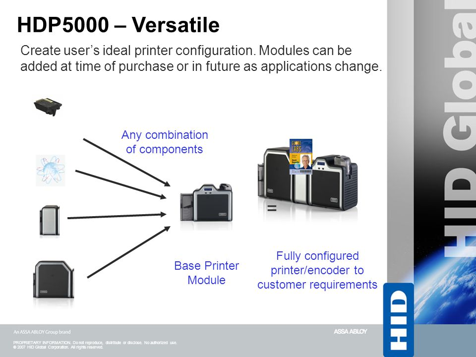 HDP5000 – Versatile Create user's ideal printer configuration. Modules can be. added at time of purchase or in future as applications change.