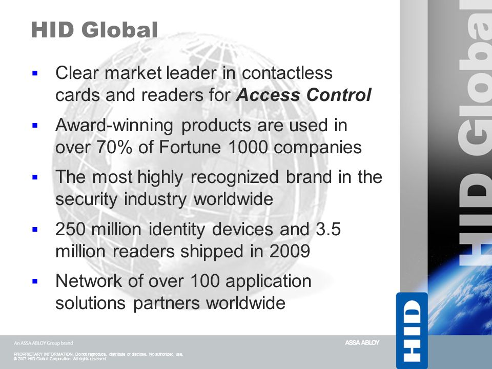 HID Global Clear market leader in contactless cards and readers for Access Control.