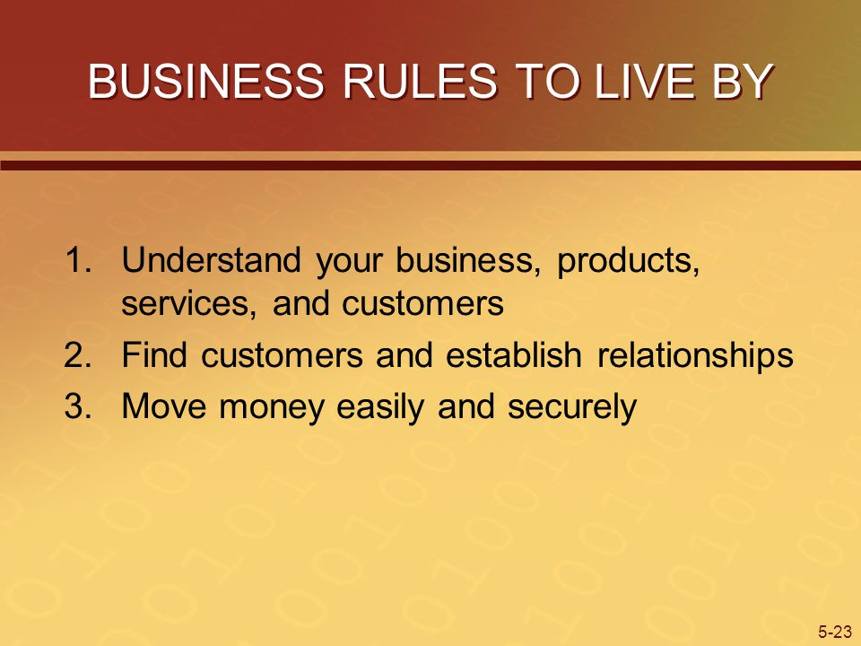 BUSINESS RULES TO LIVE BY