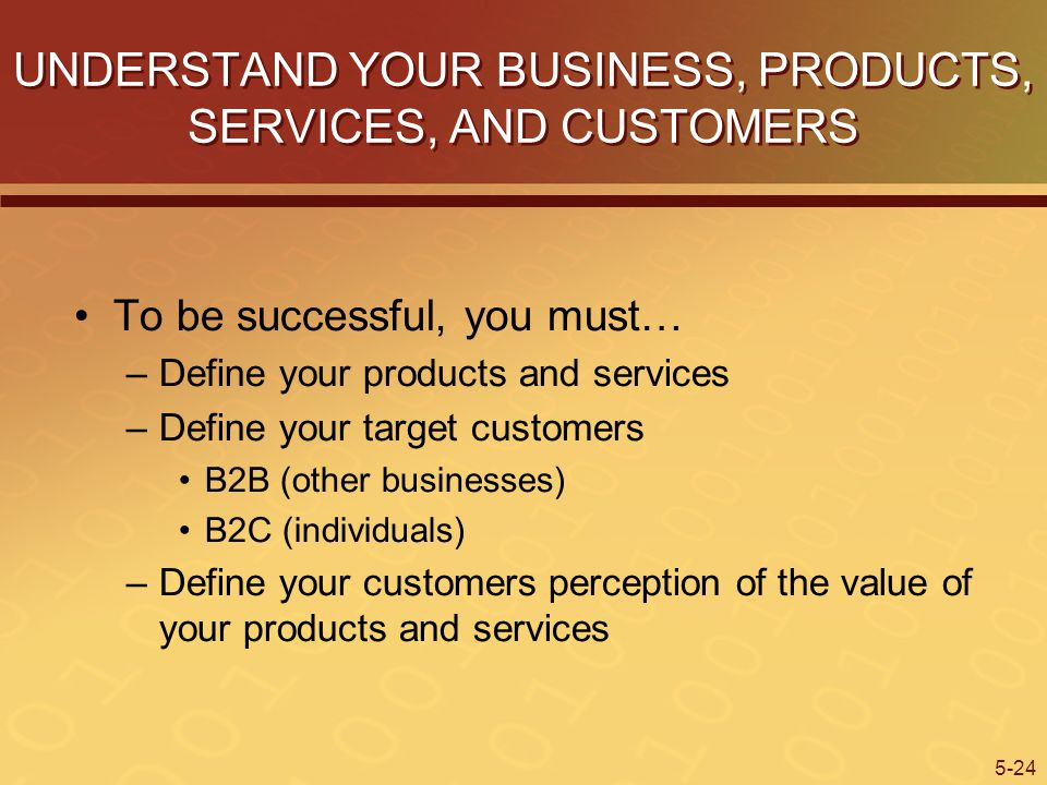 UNDERSTAND YOUR BUSINESS, PRODUCTS, SERVICES, AND CUSTOMERS