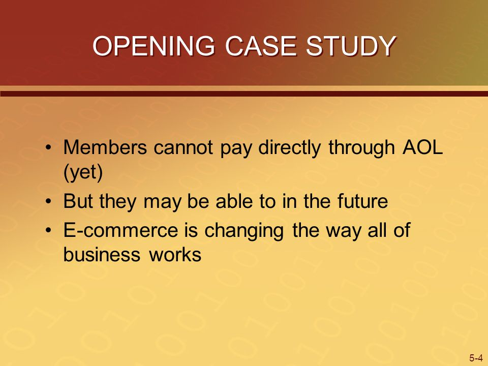 OPENING CASE STUDY Members cannot pay directly through AOL (yet)