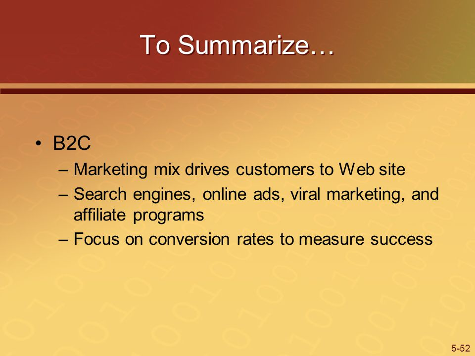 To Summarize… B2C Marketing mix drives customers to Web site