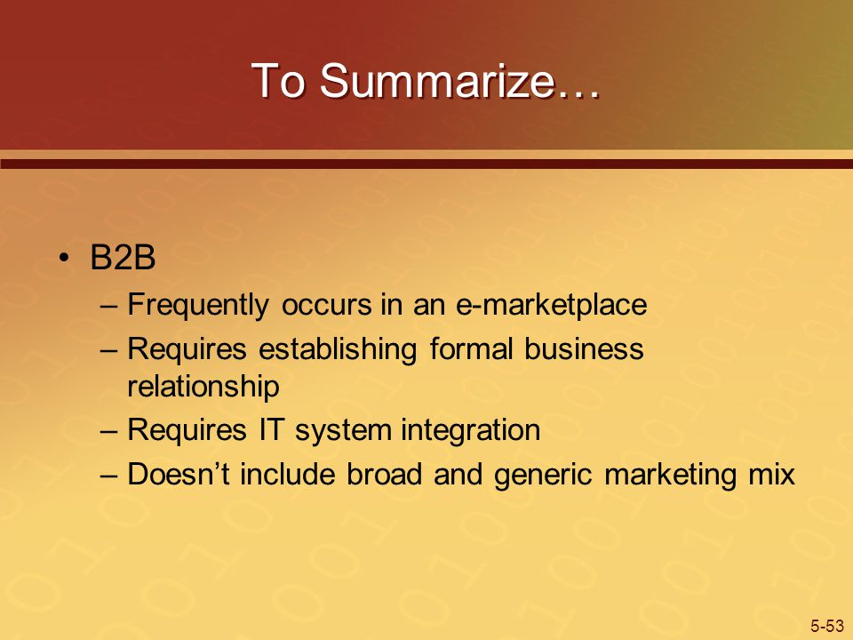 To Summarize… B2B Frequently occurs in an e-marketplace