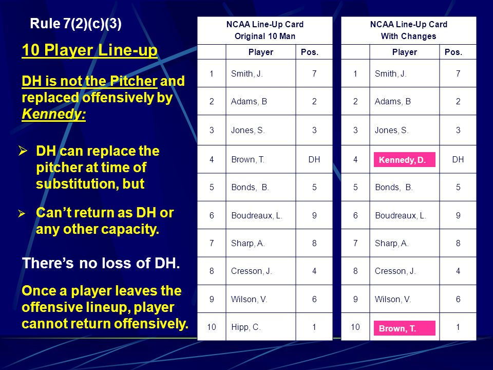 10 Player Line-up There's no loss of DH. Rule 7(2)(c)(3)