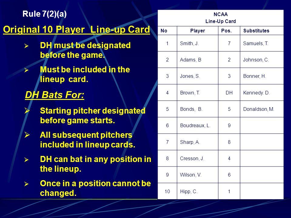 Original 10 Player Line-up Card