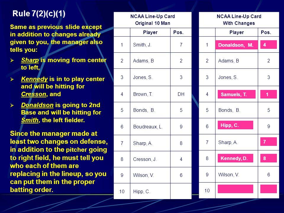 Rule 7(2)(c)(1) NCAA Line-Up Card. Original 10 Man. Player. Pos. 1. Smith, J. 7. 2. Adams, B.